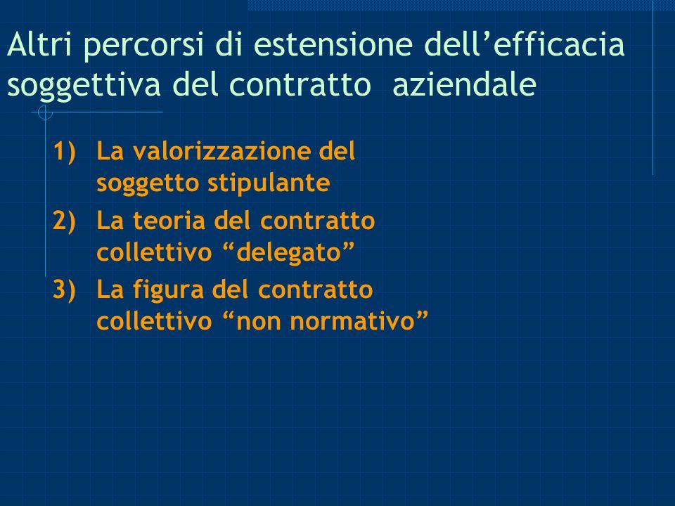 Altri percorsi di estensione dellefficacia soggettiva del contratto aziendale 1)La valorizzazione del soggetto stipulante 2)La teoria del contratto co
