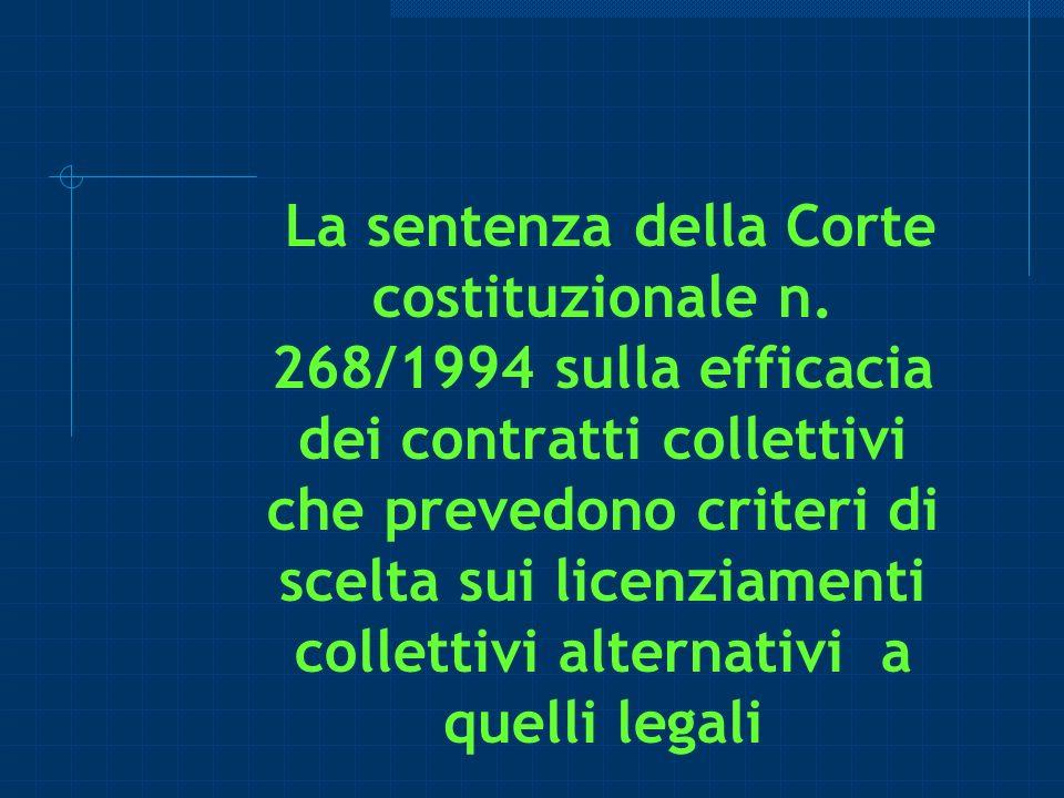La sentenza della Corte costituzionale n. 268/1994 sulla efficacia dei contratti collettivi che prevedono criteri di scelta sui licenziamenti colletti
