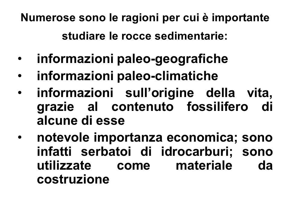 Numerose sono le ragioni per cui è importante studiare le rocce sedimentarie: informazioni paleo-geografiche informazioni paleo-climatiche informazion