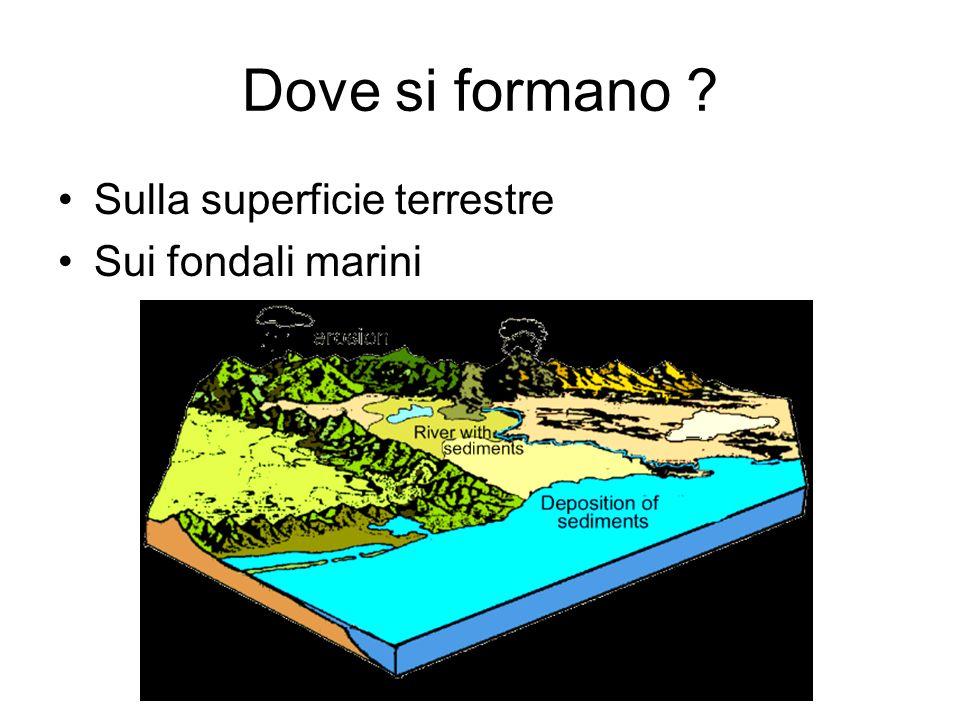 Dove si formano ? Sulla superficie terrestre Sui fondali marini