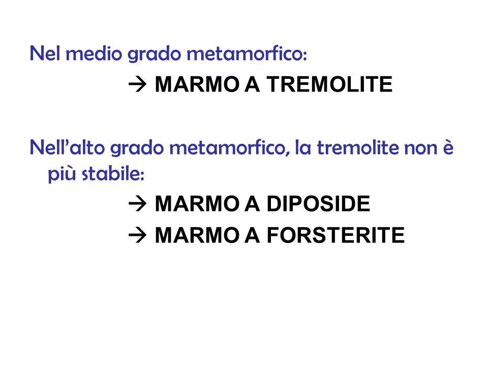 Nel medio grado metamorfico: MARMO A TREMOLITE Nellalto grado metamorfico, la tremolite non è più stabile: MARMO A DIPOSIDE MARMO A FORSTERITE