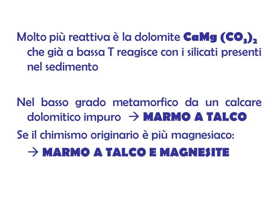 Molto più reattiva è la dolomite CaMg (CO 3 ) 2 che già a bassa T reagisce con i silicati presenti nel sedimento Nel basso grado metamorfico da un calcare dolomitico impuro MARMO A TALCO Se il chimismo originario è più magnesiaco: MARMO A TALCO E MAGNESITE