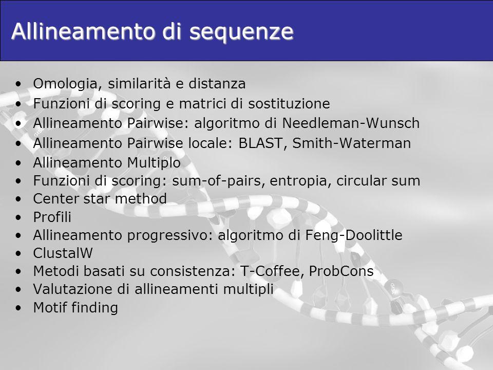 Allineamento di sequenze Omologia, similarità e distanza Funzioni di scoring e matrici di sostituzione Allineamento Pairwise: algoritmo di Needleman-W