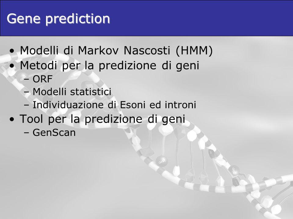 Gene prediction Modelli di Markov Nascosti (HMM) Metodi per la predizione di geni –ORF –Modelli statistici –Individuazione di Esoni ed introni Tool pe