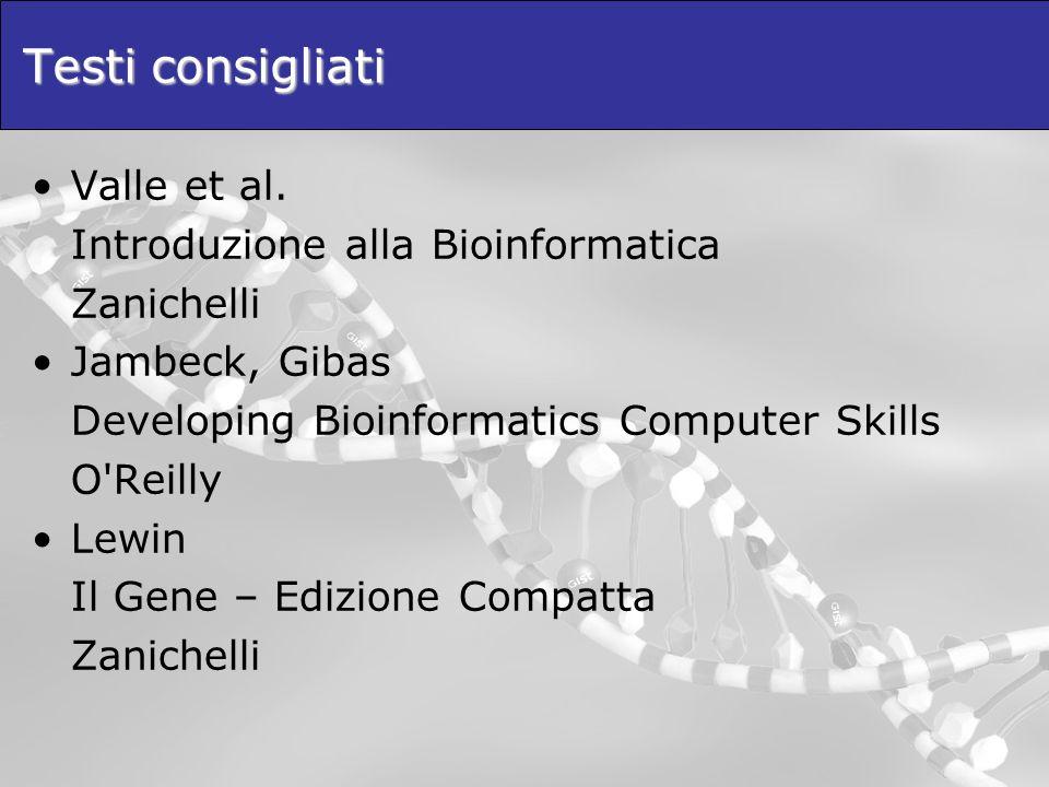 Testi consigliati Valle et al. Introduzione alla Bioinformatica Zanichelli Jambeck, Gibas Developing Bioinformatics Computer Skills O'Reilly Lewin Il