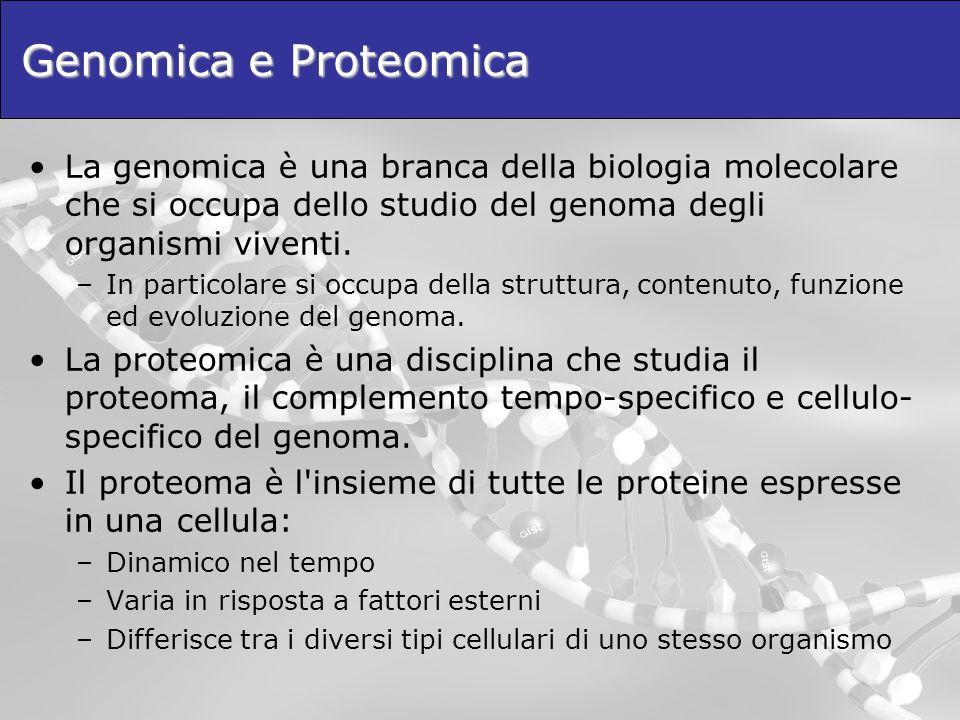 Genomica e Proteomica La genomica è una branca della biologia molecolare che si occupa dello studio del genoma degli organismi viventi. –In particolar