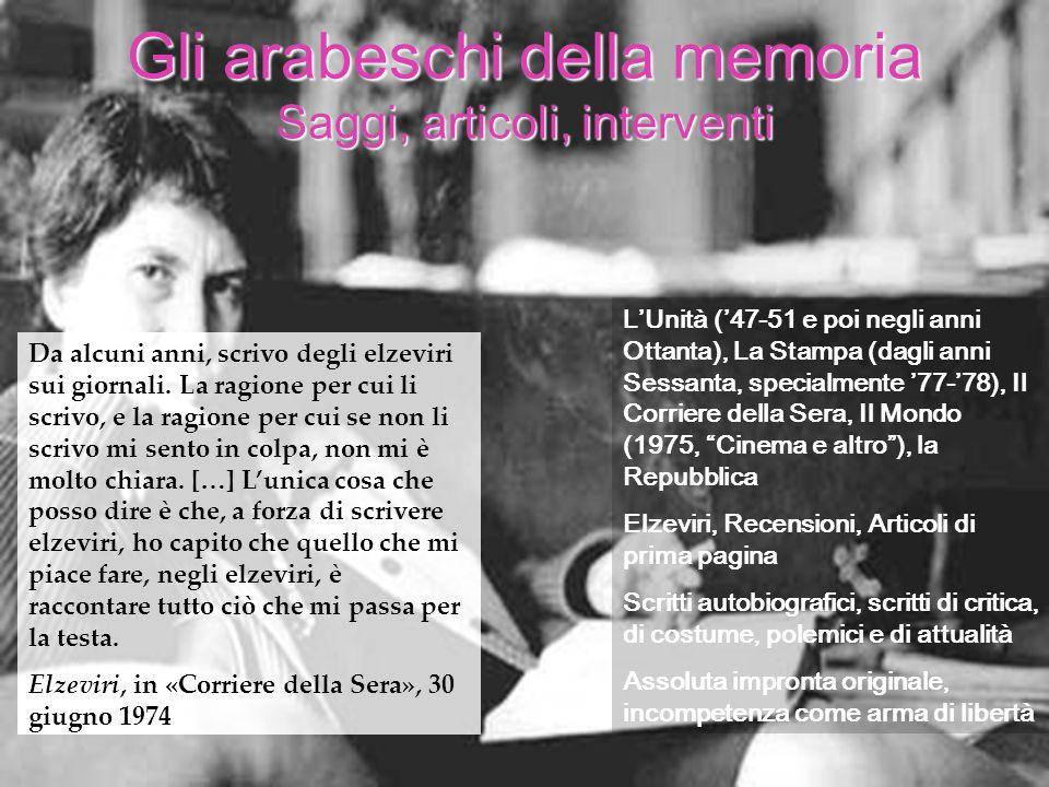 LUnità (47-51 e poi negli anni Ottanta), La Stampa (dagli anni Sessanta, specialmente 77-78), Il Corriere della Sera, Il Mondo (1975, Cinema e altro),