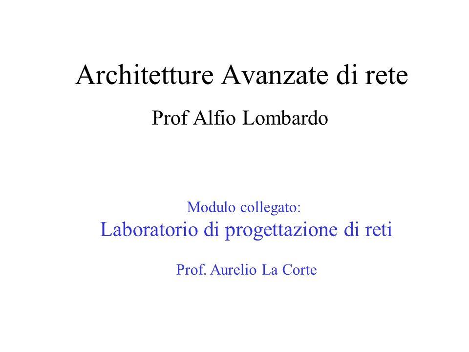 Architetture Avanzate di rete Prof Alfio Lombardo Modulo collegato: Laboratorio di progettazione di reti Prof. Aurelio La Corte