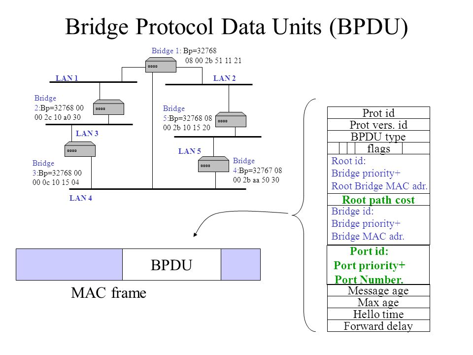Bridge Protocol Data Units (BPDU) Prot id Prot vers. id BPDU type flags Root id: Bridge priority+ Root Bridge MAC adr. Root path cost Bridge id: Bridg