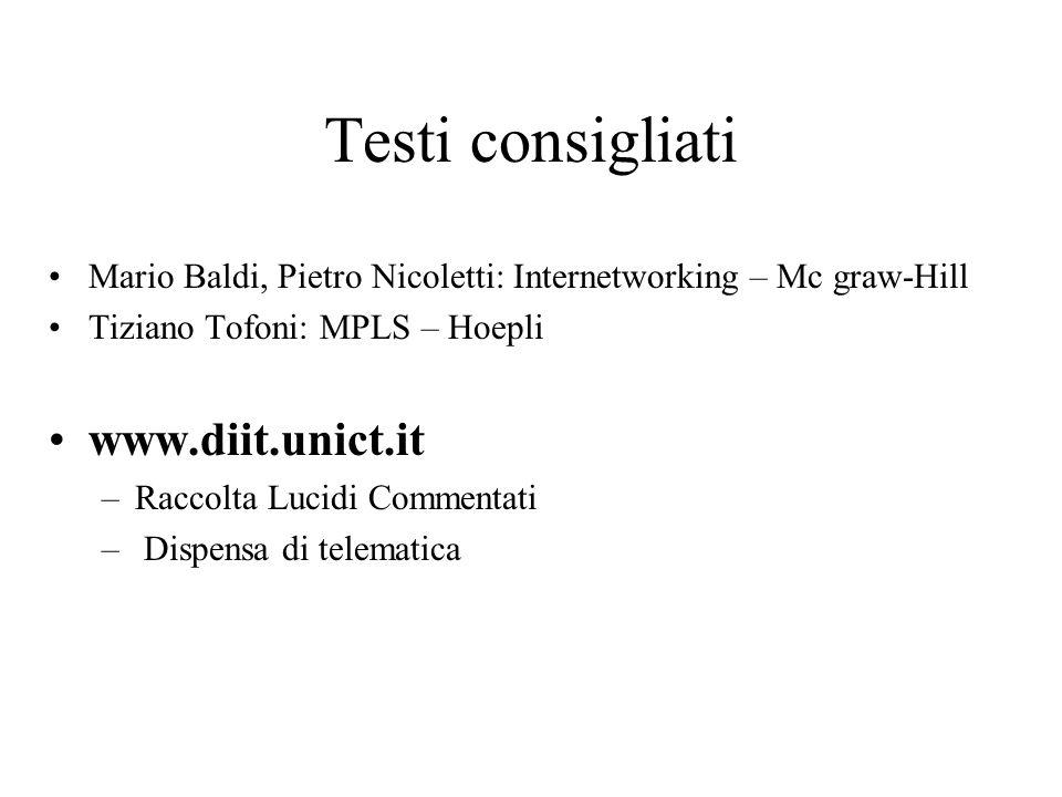 Testi consigliati Mario Baldi, Pietro Nicoletti: Internetworking – Mc graw-Hill Tiziano Tofoni: MPLS – Hoepli www.diit.unict.it –Raccolta Lucidi Comme