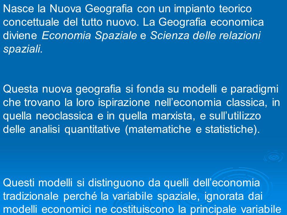 Nasce la Nuova Geografia con un impianto teorico concettuale del tutto nuovo. La Geografia economica diviene Economia Spaziale e Scienza delle relazio