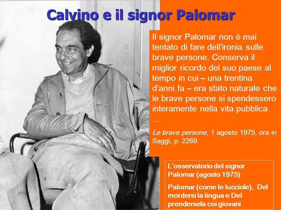 Calvino e il signor Palomar Losservatorio del signor Palomar (agosto 1975) Palomar (come le lucciole), Del mordersi la lingua e Del prendersela coi giovani Il signor Palomar non è mai tentato di fare dellironia sulle brave persone.