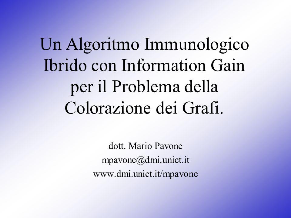 Un Algoritmo Immunologico Ibrido con Information Gain per il Problema della Colorazione dei Grafi. dott. Mario Pavone mpavone@dmi.unict.it www.dmi.uni