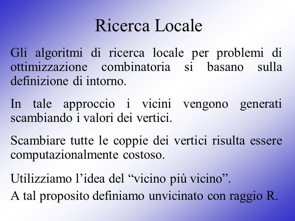 Ricerca Locale Gli algoritmi di ricerca locale per problemi di ottimizzazione combinatoria si basano sulla definizione di intorno. In tale approccio i