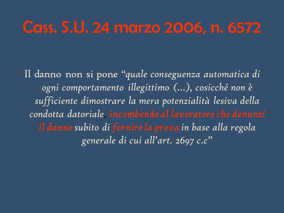 Cass. S.U. 24 marzo 2006, n. 6572 Il danno non si pone quale conseguenza automatica di ogni comportamento illegittimo (…), cosicché non è sufficiente