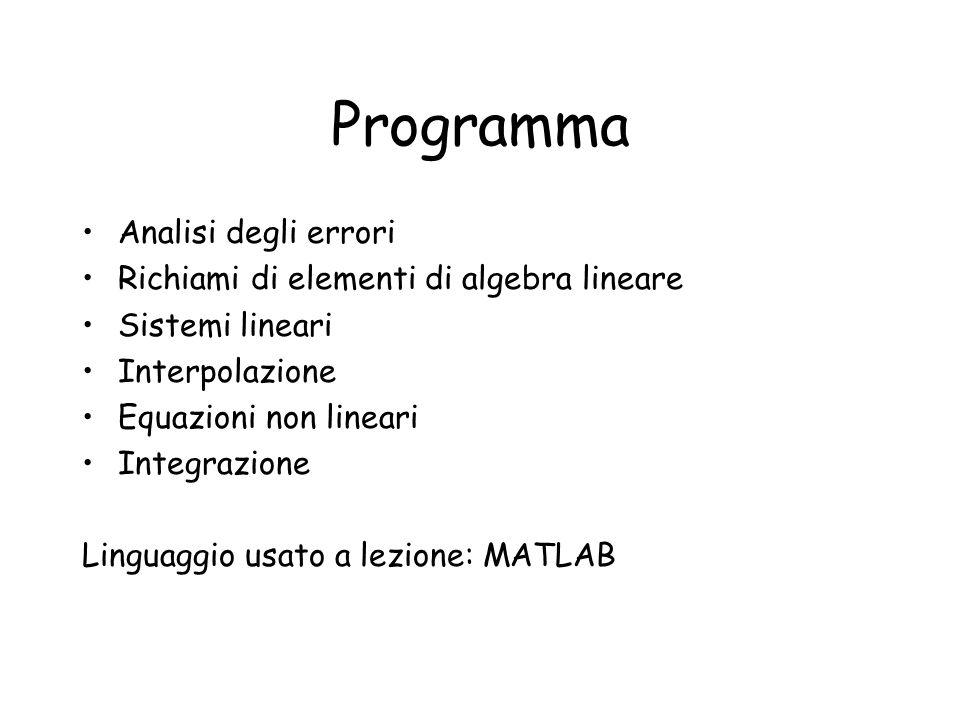 Programma Analisi degli errori Richiami di elementi di algebra lineare Sistemi lineari Interpolazione Equazioni non lineari Integrazione Linguaggio us