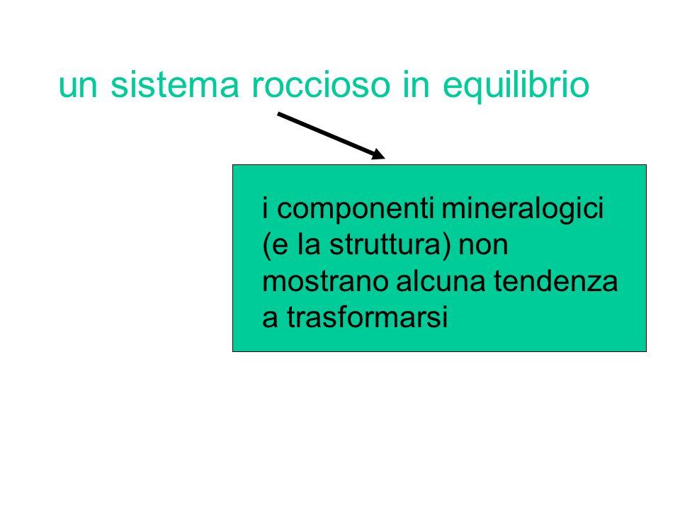 un sistema roccioso in equilibrio i componenti mineralogici (e la struttura) non mostrano alcuna tendenza a trasformarsi