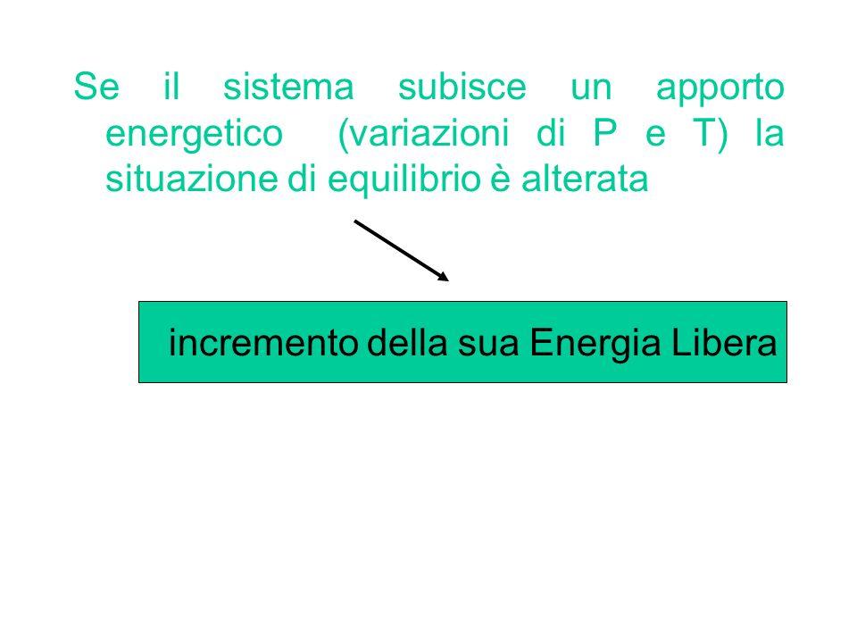 Se il sistema subisce un apporto energetico (variazioni di P e T) la situazione di equilibrio è alterata incremento della sua Energia Libera