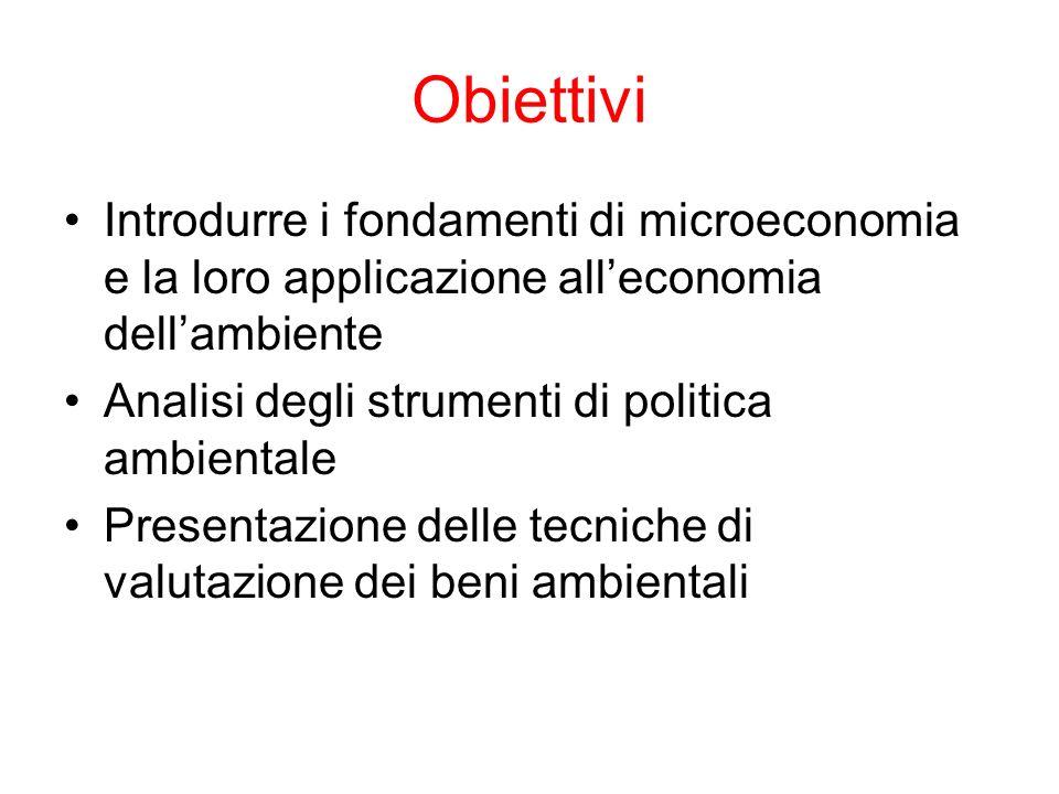 Obiettivi Introdurre i fondamenti di microeconomia e la loro applicazione alleconomia dellambiente Analisi degli strumenti di politica ambientale Pres