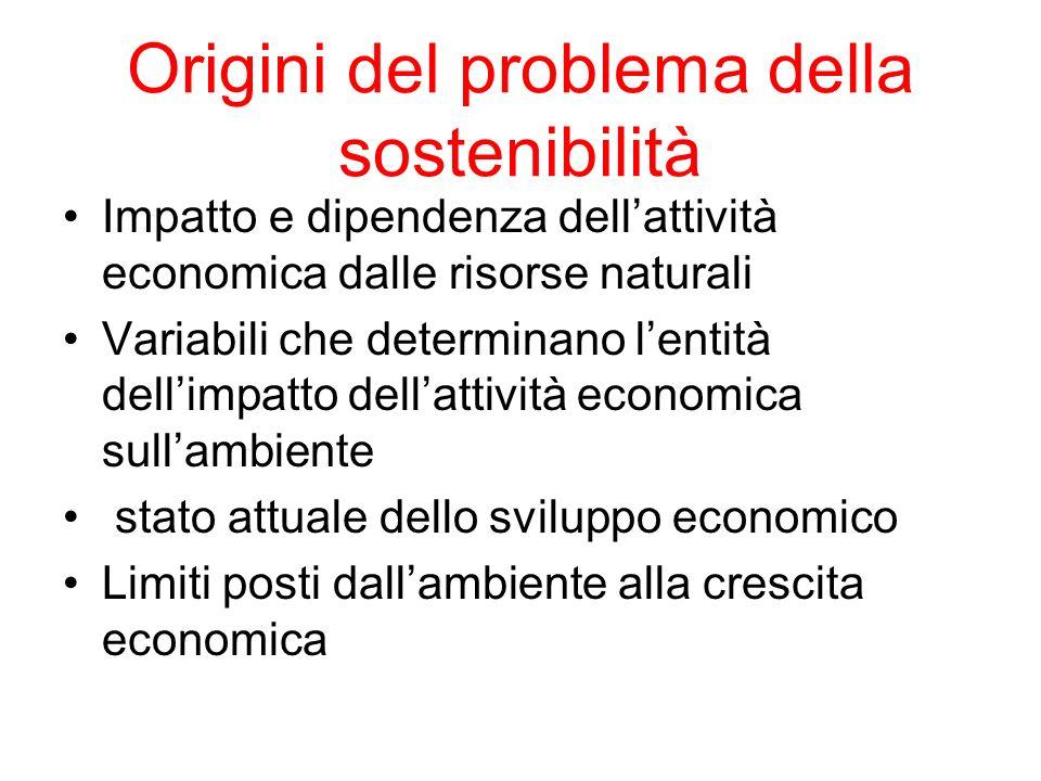 Origini del problema della sostenibilità Impatto e dipendenza dellattività economica dalle risorse naturali Variabili che determinano lentità dellimpa