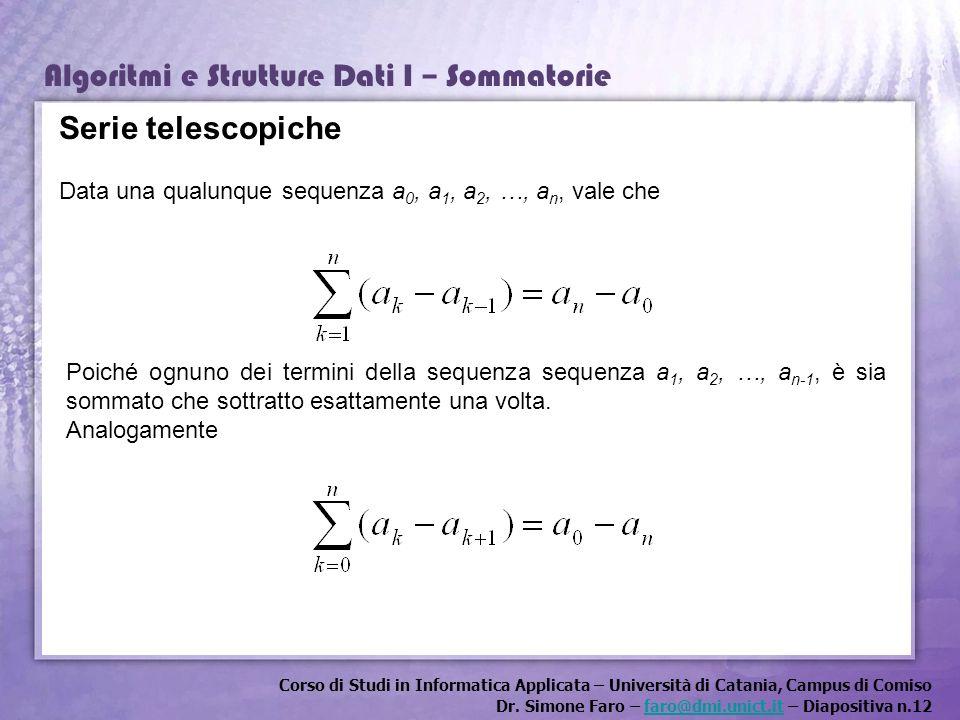 Corso di Studi in Informatica Applicata – Università di Catania, Campus di Comiso Dr. Simone Faro – faro@dmi.unict.it – Diapositiva n.12faro@dmi.unict