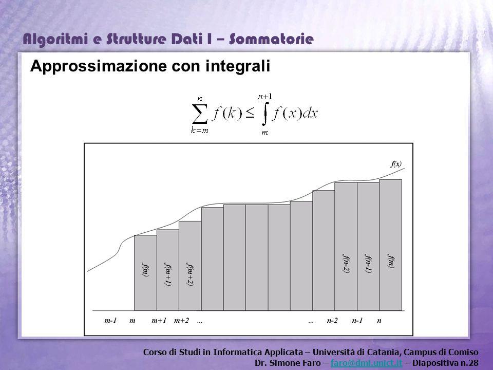 Corso di Studi in Informatica Applicata – Università di Catania, Campus di Comiso Dr. Simone Faro – faro@dmi.unict.it – Diapositiva n.28faro@dmi.unict