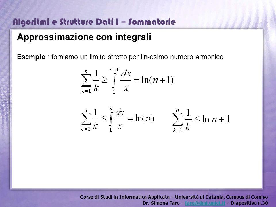 Corso di Studi in Informatica Applicata – Università di Catania, Campus di Comiso Dr. Simone Faro – faro@dmi.unict.it – Diapositiva n.30faro@dmi.unict