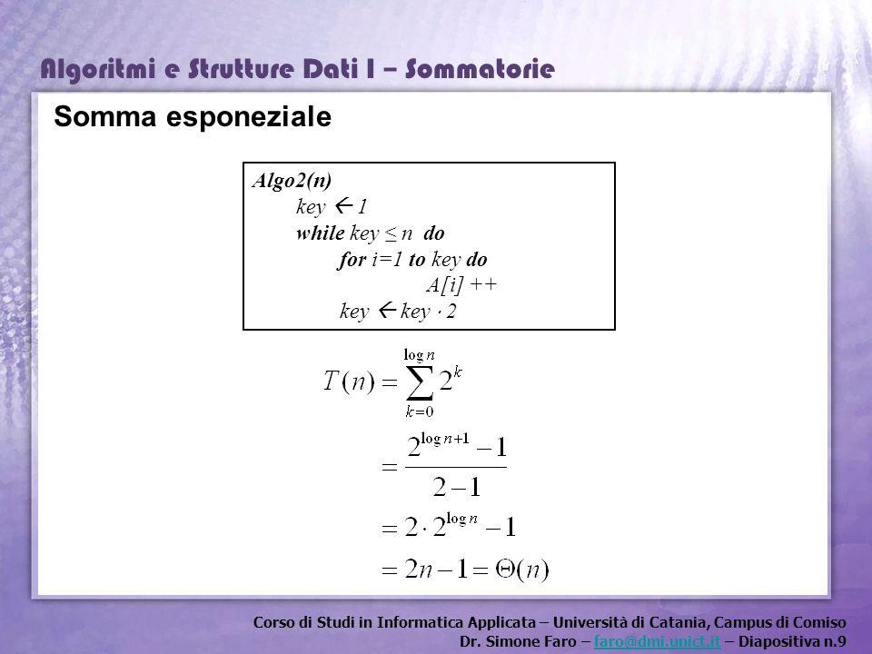 Corso di Studi in Informatica Applicata – Università di Catania, Campus di Comiso Dr. Simone Faro – faro@dmi.unict.it – Diapositiva n.9faro@dmi.unict.