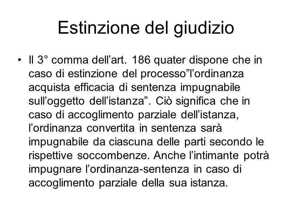 Estinzione del giudizio Il 3° comma dellart. 186 quater dispone che in caso di estinzione del processolordinanza acquista efficacia di sentenza impugn
