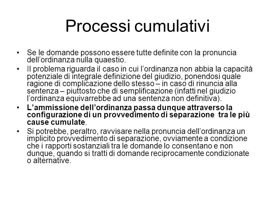 Processi cumulativi Se le domande possono essere tutte definite con la pronuncia dellordinanza nulla quaestio. Il problema riguarda il caso in cui lor