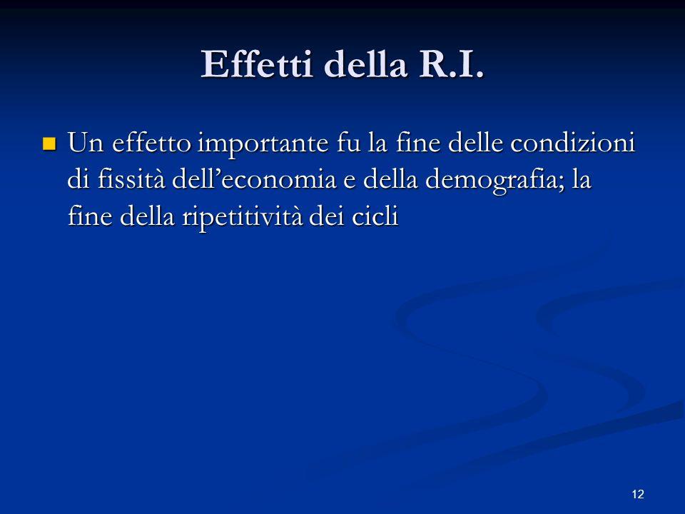 12 Effetti della R.I. Un effetto importante fu la fine delle condizioni di fissità delleconomia e della demografia; la fine della ripetitività dei cic