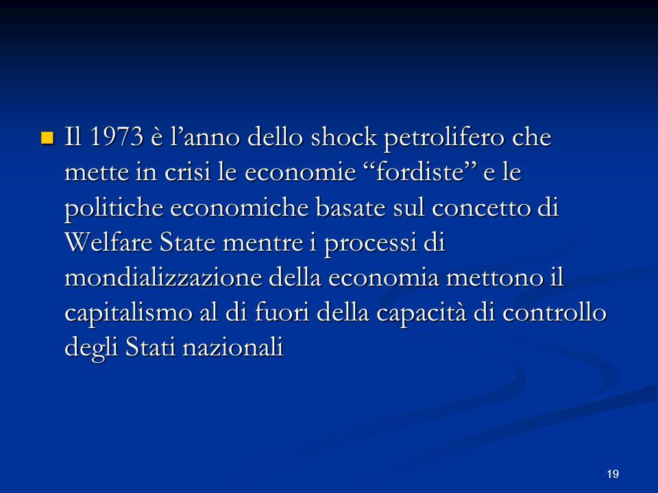 19 Il 1973 è lanno dello shock petrolifero che mette in crisi le economie fordiste e le politiche economiche basate sul concetto di Welfare State ment