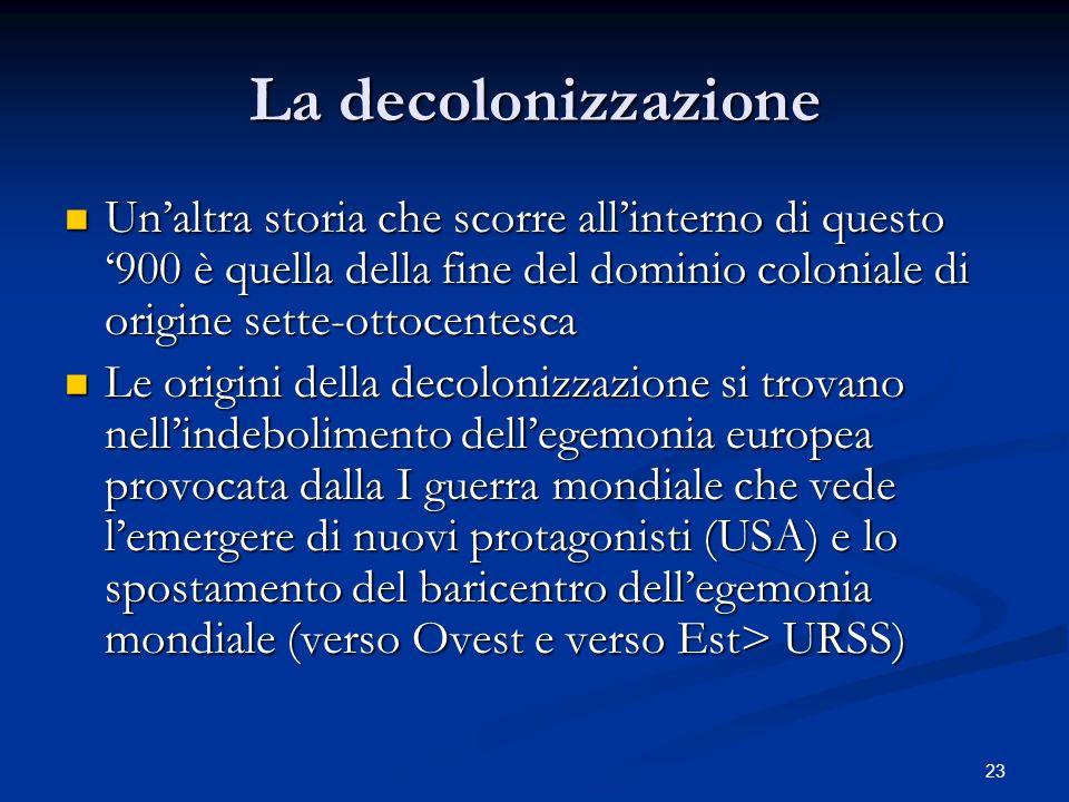 23 La decolonizzazione Unaltra storia che scorre allinterno di questo 900 è quella della fine del dominio coloniale di origine sette-ottocentesca Unal