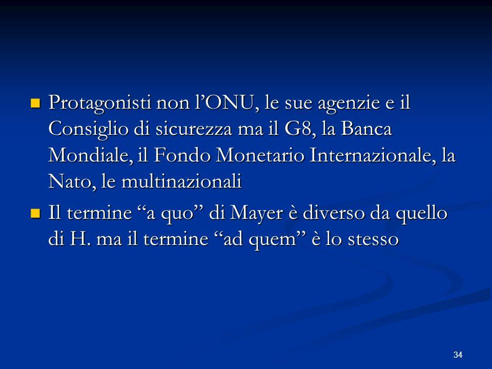 34 Protagonisti non lONU, le sue agenzie e il Consiglio di sicurezza ma il G8, la Banca Mondiale, il Fondo Monetario Internazionale, la Nato, le multinazionali Protagonisti non lONU, le sue agenzie e il Consiglio di sicurezza ma il G8, la Banca Mondiale, il Fondo Monetario Internazionale, la Nato, le multinazionali Il termine a quo di Mayer è diverso da quello di H.