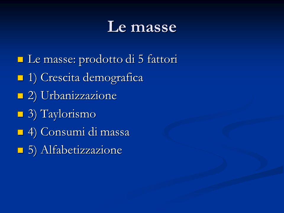 Le masse Le masse: prodotto di 5 fattori Le masse: prodotto di 5 fattori 1) Crescita demografica 1) Crescita demografica 2) Urbanizzazione 2) Urbanizz