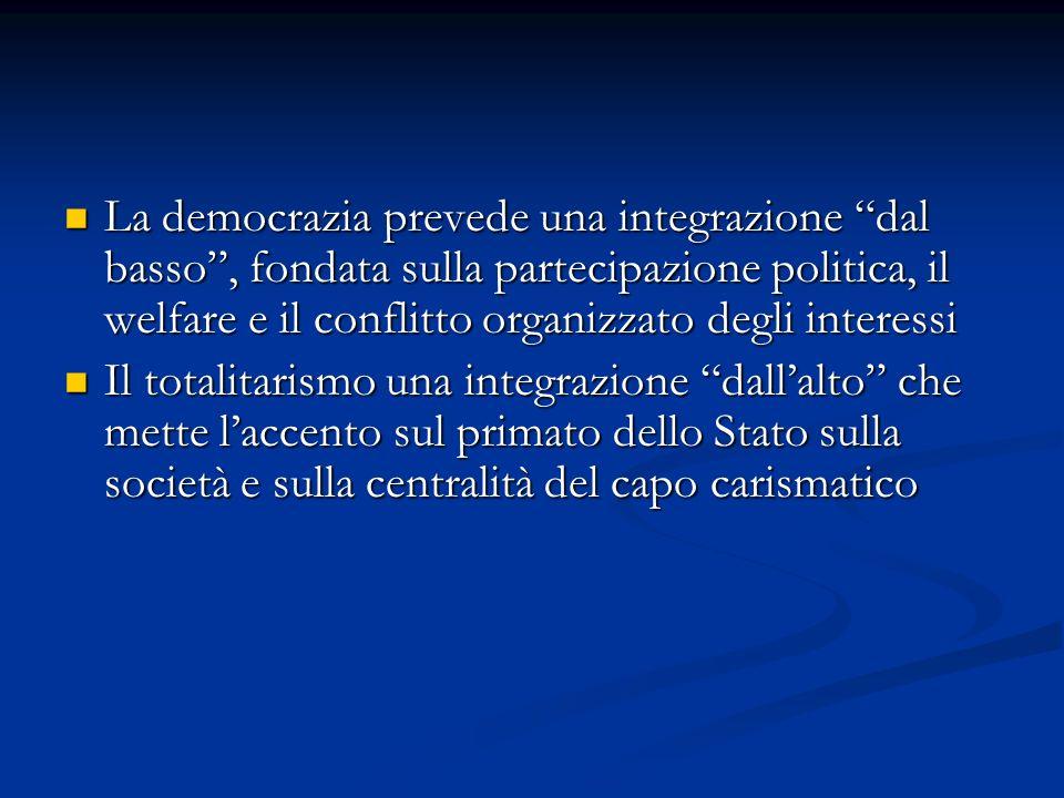 La democrazia prevede una integrazione dal basso, fondata sulla partecipazione politica, il welfare e il conflitto organizzato degli interessi La demo