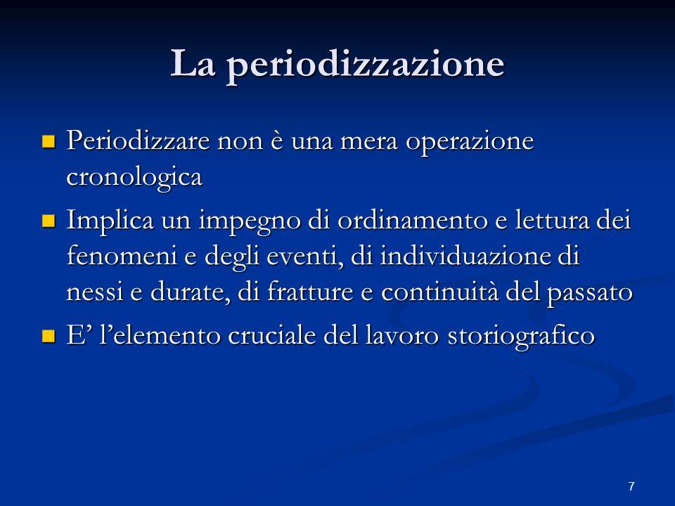La periodizzazione Periodizzare non è una mera operazione cronologica Periodizzare non è una mera operazione cronologica Implica un impegno di ordinam