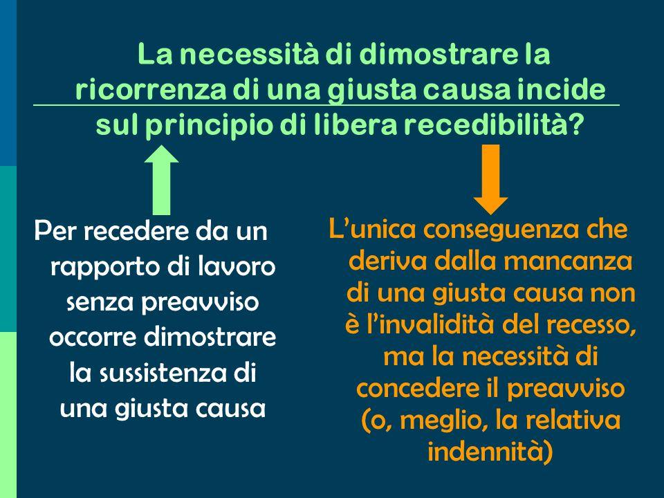 In alcuni casi viene meno anche il limite del preavviso …o senza preavviso qualora si verifichi una causa che non consenta la prosecuzione del rapport