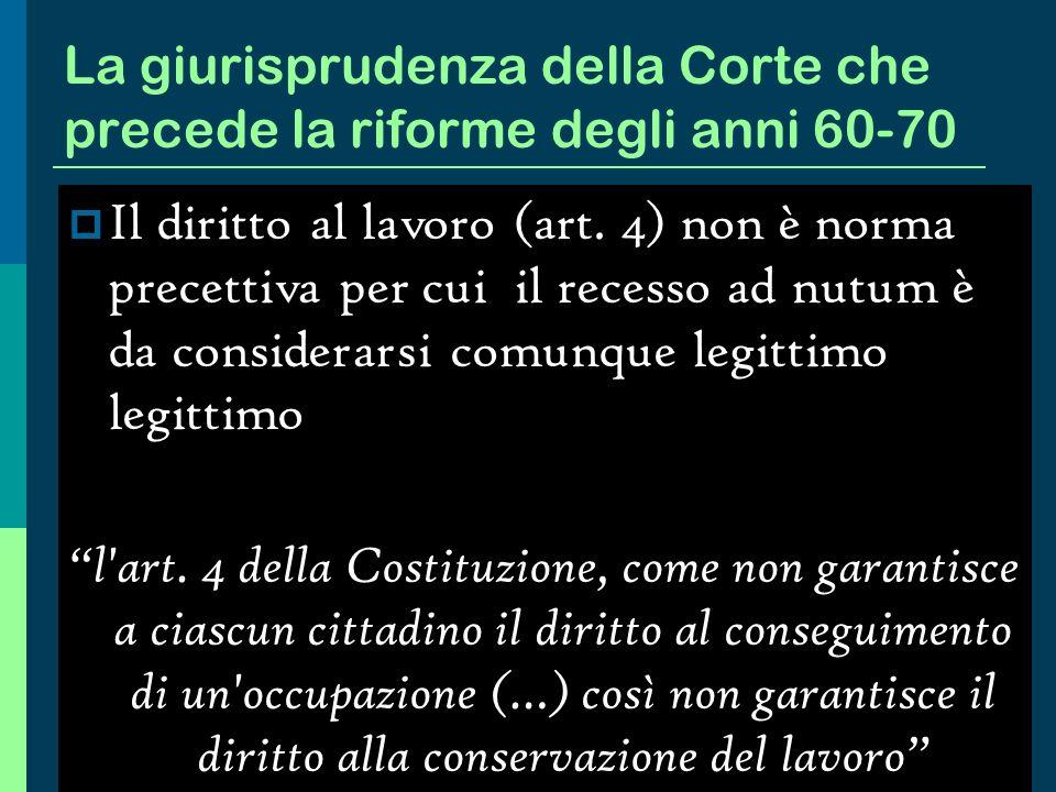 La tendenza evolutiva dellordinamento italiano Il blocco dei licenziamenti (1945 ) La successiva contrattazione interconfederale (1950) La legge 604 d
