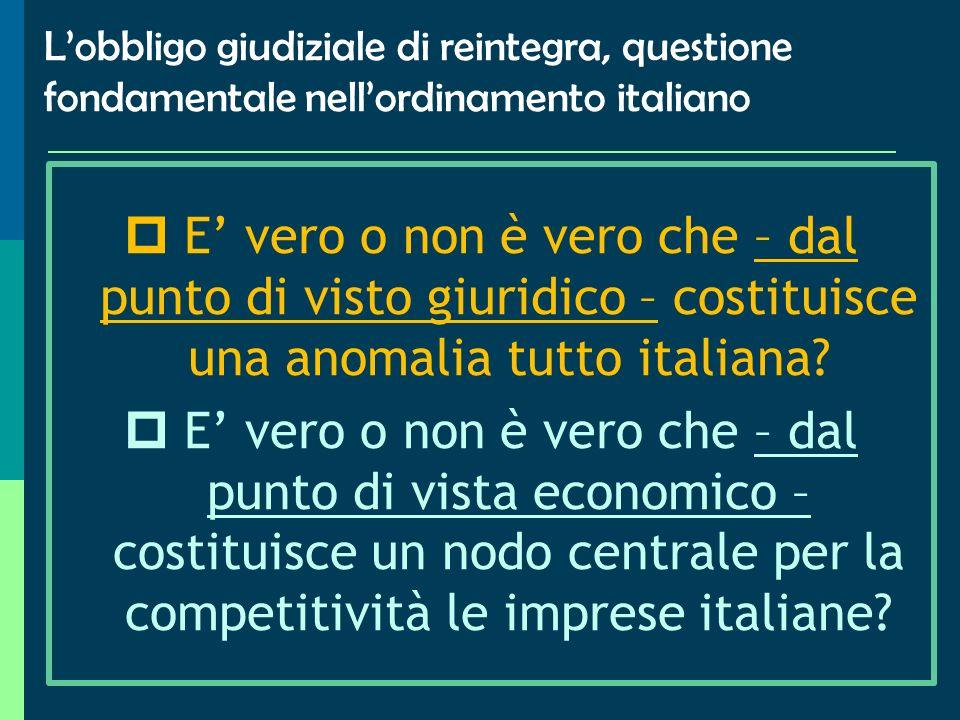 Verso il superamento dellart. 18 nellordinamento italiano? Lultimo tabù? (Accornero 1999)