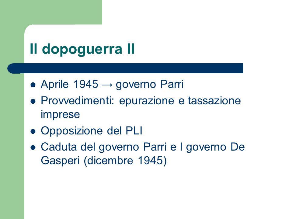 Il dopoguerra II Aprile 1945 governo Parri Provvedimenti: epurazione e tassazione imprese Opposizione del PLI Caduta del governo Parri e I governo De Gasperi (dicembre 1945)