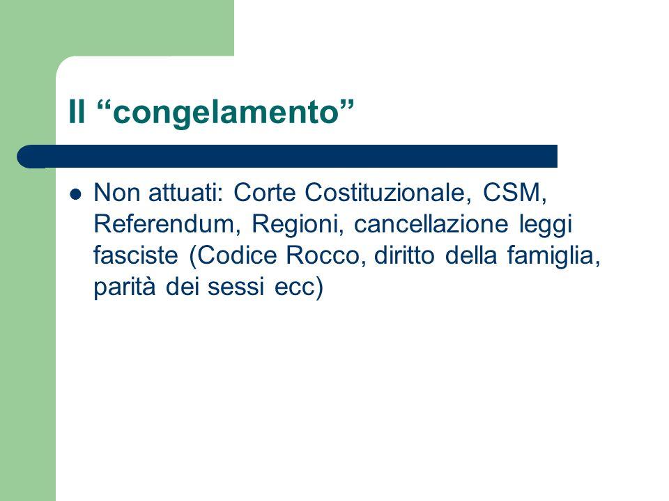 Il congelamento Non attuati: Corte Costituzionale, CSM, Referendum, Regioni, cancellazione leggi fasciste (Codice Rocco, diritto della famiglia, parit