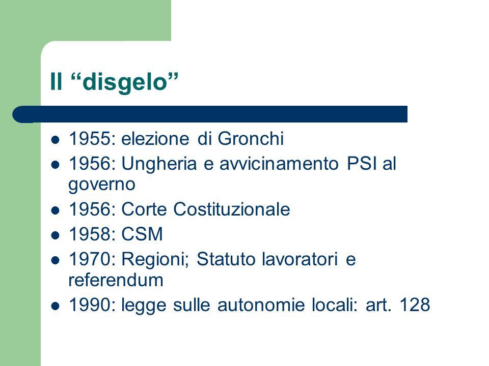 Il disgelo 1955: elezione di Gronchi 1956: Ungheria e avvicinamento PSI al governo 1956: Corte Costituzionale 1958: CSM 1970: Regioni; Statuto lavoratori e referendum 1990: legge sulle autonomie locali: art.