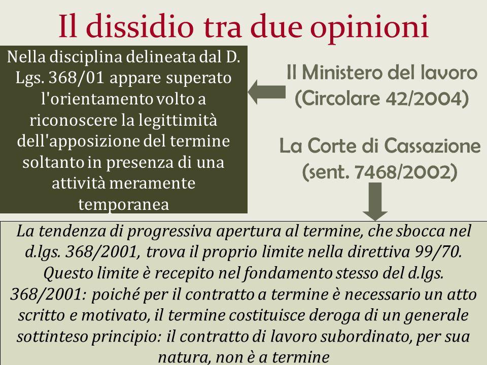 Il dissidio tra due opinioni Nella disciplina delineata dal D. Lgs. 368/01 appare superato l'orientamento volto a riconoscere la legittimità dell'appo