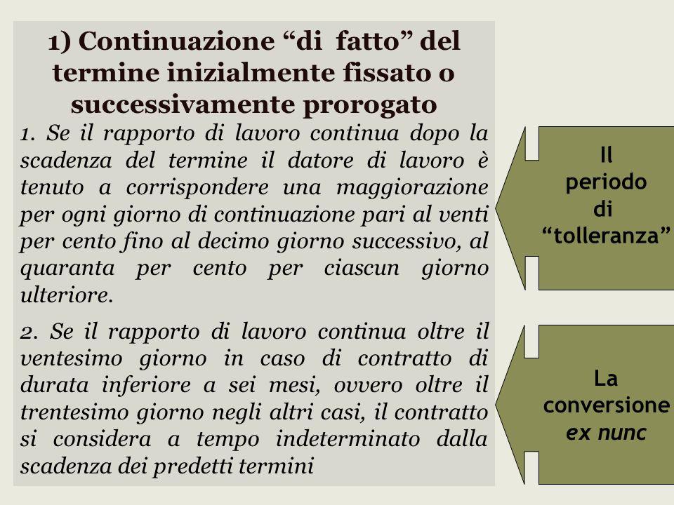 1) Continuazione di fatto del termine inizialmente fissato o successivamente prorogato 1. Se il rapporto di lavoro continua dopo la scadenza del termi