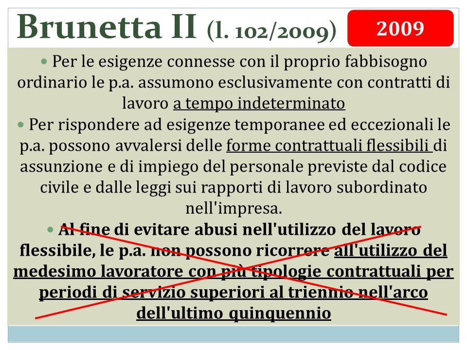 Brunetta II (l. 102/2009) Per le esigenze connesse con il proprio fabbisogno ordinario le p.a. assumono esclusivamente con contratti di lavoro a tempo