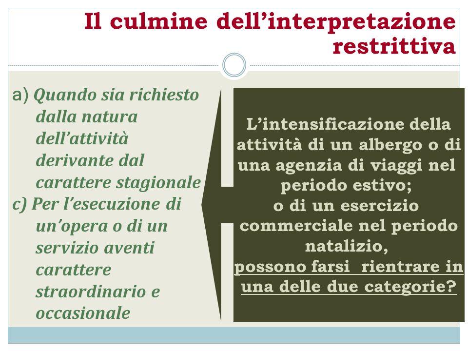 Il culmine dellinterpretazione restrittiva Lintensificazione della attività di un albergo o di una agenzia di viaggi nel periodo estivo; o di un eserc