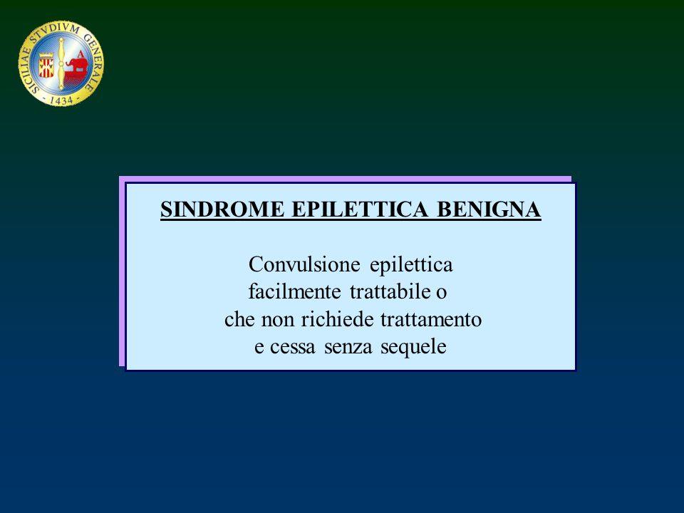 SINDROME EPILETTICA BENIGNA Convulsione epilettica facilmente trattabile o che non richiede trattamento e cessa senza sequele SINDROME EPILETTICA BENI