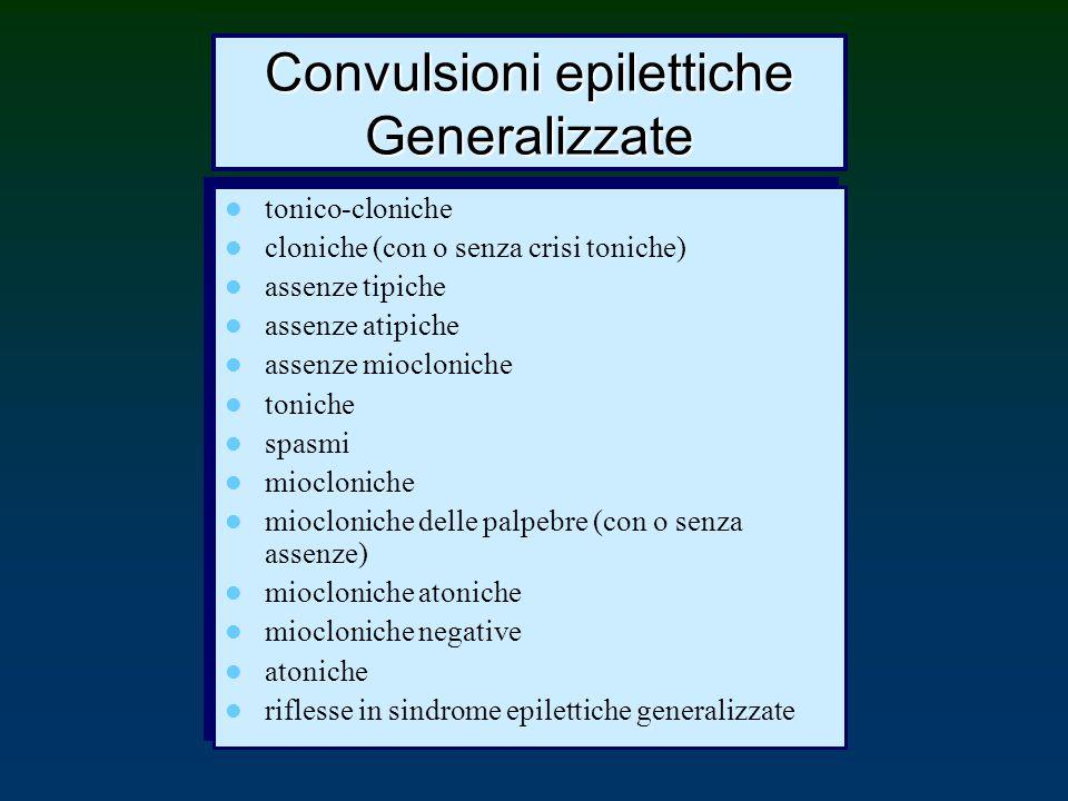 Convulsioni epilettiche Generalizzate tonico-cloniche cloniche (con o senza crisi toniche) assenze tipiche assenze atipiche assenze miocloniche tonich