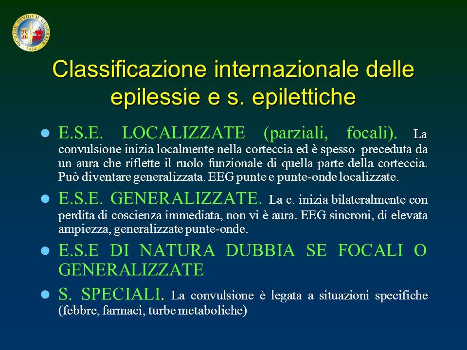 Classificazione internazionale delle epilessie e s. epilettiche E.S.E. LOCALIZZATE (parziali, focali). La convulsione inizia localmente nella cortecci